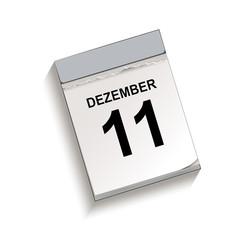 Kalender Dezember 11, Kalender, Abreißkalender mit Datum 11 Dezember Vektor Illustration isoliert auf weißem Hintergrund
