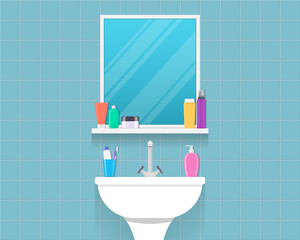 Bathroom sink with mirror, cosmetic bottles, jar of cream, liquid soap, toothpaste and toothbrush. Part of bathroom interior. Flat style vector illustration.