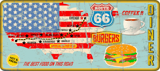 grungy route 66 diner tin sign w. road map, retro grungy vector illustration, fictional artwork