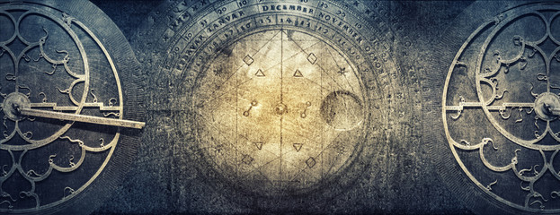 Foto op Aluminium Retro Ancient astronomical instruments on vintage paper background. Abstract old conceptual background on history, mysticism, astrology, science, etc.