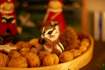 Weihnachtsdekoration mit Eichhörnchen