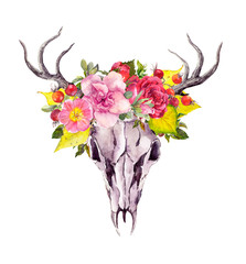 Deer animal skull with autumn leaves, flowers. Watercolor in vintage boho style