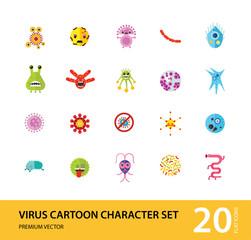 Virus cartoon character icons set. Thirteen vector icons