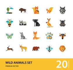 Wild Animals Icon Set. Bear Paw Trace Koala Hare Lynx Fox Squirrel Panda Squirrel With Nut Kangaroo Wolf Wisent