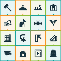 Industry icons set with hammer for tiles, chuck, library and other boer  elements. Isolated vector illustration industry icons.