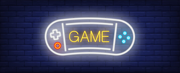 Game neon text with portable videogame console. Computer games and entertainment advertisement design. Night bright neon sign, colorful billboard, light banner. Vector illustration in neon style.