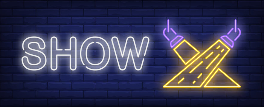 Show neon text with spotlights. Show invitation advertisement design. Night bright neon sign, colorful billboard, light banner. Vector illustration in neon style.