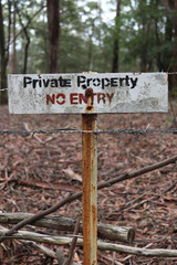 No Entry private property sign in red, black and white sign in portrait