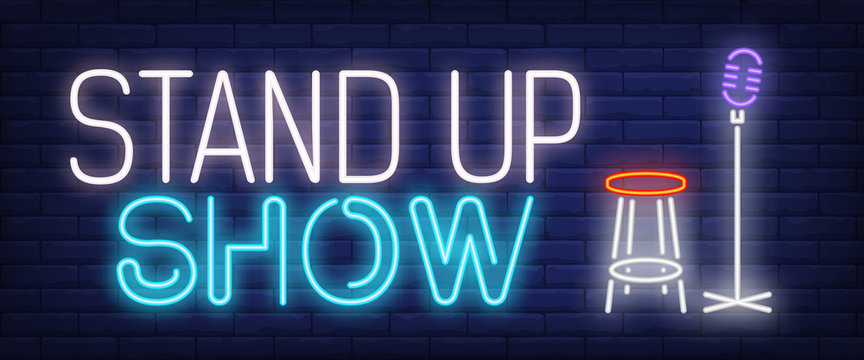 Standup show neon sign. Microphone and stool. Comedy show, performance, concert. Night bright advertisement. Vector illustration in neon style for entertainment, nightlife, show business