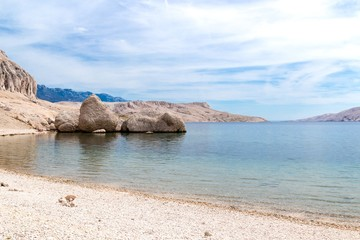 Famous three stones on the Beritnica beach on Pag island, Croatia