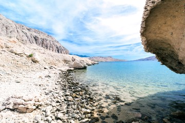 White stones beach on the island of Pag