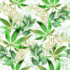 Watercolor tropical seamless background. Hemp leaf repeatable pattern, herbal medicine and cannabis concept