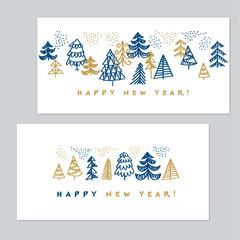Minimal Holiday Christmas trees for invitation