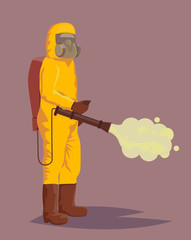 Man in hazmat suit spraying pesticides