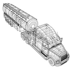 Vector Gasoline tanker. Tipper lorry on transparent background. Tracing illustration of 3d. EPS 10 vector format.