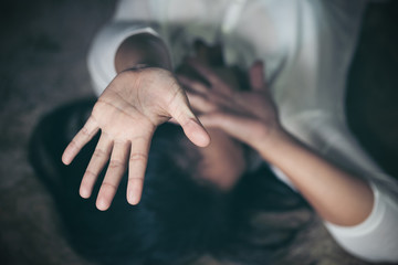 Woman wound domestic violence rape, Vintage effect style pictures, concept photo of sexual assault.