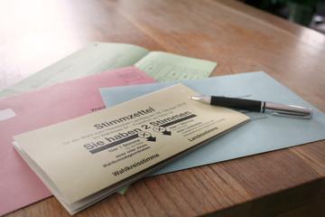 Stimmzettel zur Wahl, Wahlunterlagen zur Briefwahl