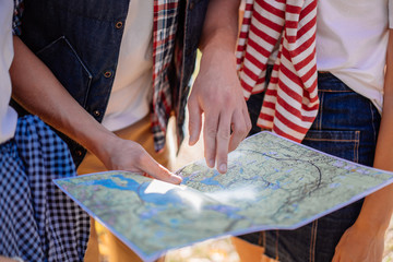 Watching the route in the traveler map on hiking