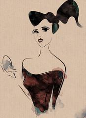 Pin up style fashion woman with make up powder