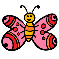 Doodle butterfly, cartoon happy bug isolated on white background. Vector illustration.