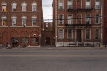 Between two brick buildings