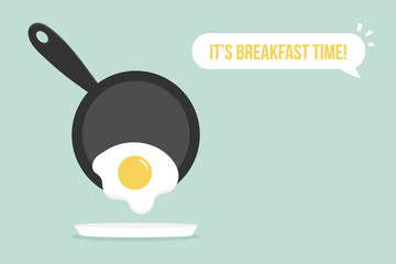 Cute vector cartoon style illustration for breakfast design with fried egg and pan.