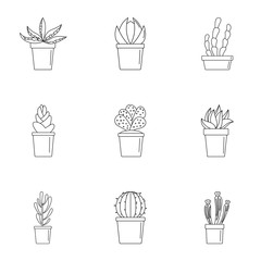 Cactus pot icon set. Outline set of 9 cactus pot vector icons for web design isolated on white background