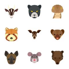 Wild animal head icon set. Flat set of 9 wild animal head vector icons for web design