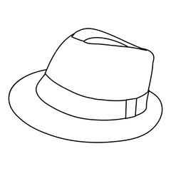 white background, men's hat sketch, lines