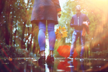 autumn view, people in the park on the background of autumn trees / beautiful autumn concept weather fall