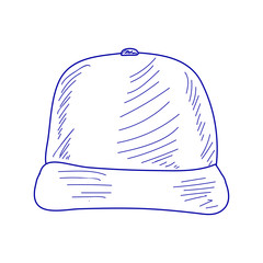 blue sketch baseball cap