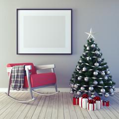 Mock up poster,Christmas decoration, new year, 3d render 3d illustration