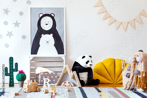 Stylish Scandinavian Kid Room With Mock Up Photo Poster Frame On The