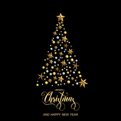 Happy New Year and Merry Christmas. Christmas tree with gold stars on the black background. Vector illustration.
