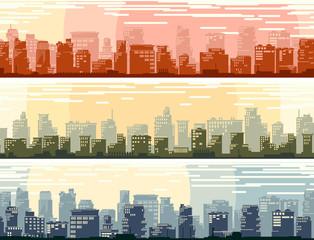 Horizontal banners of big cartoon city.