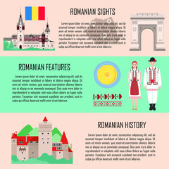 Romania set with national costume, traditional cuisine, history and national attractions backgrounds. Vector illustration