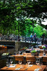 Amsterdam, Netherlands - May 23, 2018: restaurant in Amsterdam, Netherlands