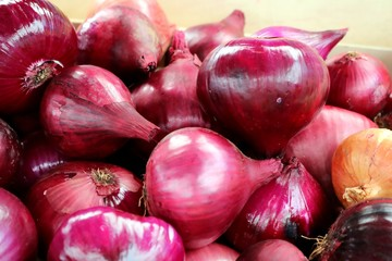 Red Onions on a Market in Southern Europe, Detail, Close-up