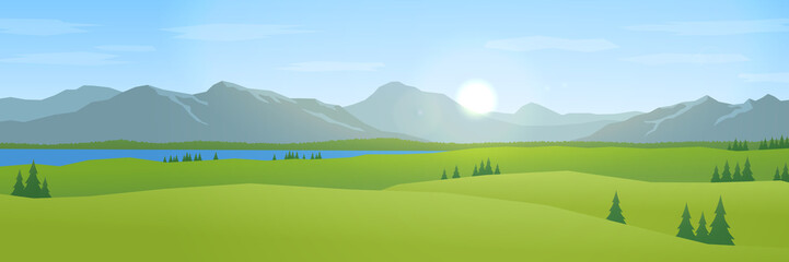 Foto op Canvas Blauwe hemel mountains and hills landscape flat design panorama