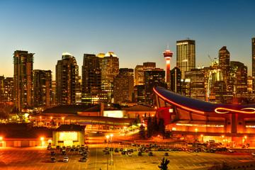 Calgary city skyline at twilight time, Alberta,Canada