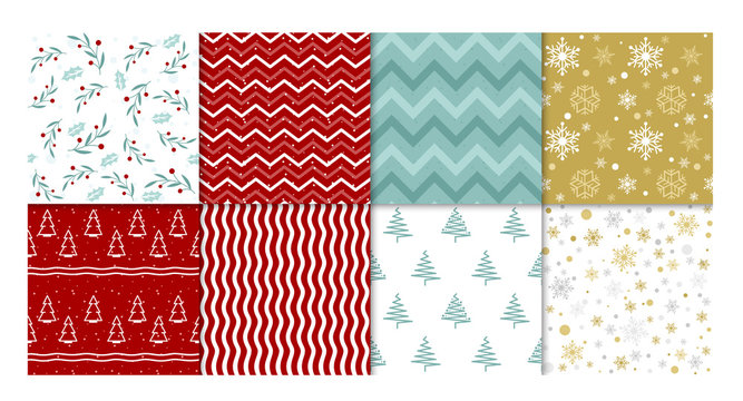 Vector illustration set of winter patterns. Collection of red and white, golden and blue seamless backgrounds with snowflakes, christmas tree and simple abstract geometric design.