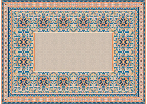 The pattern of a luxury old oriental carpet with gently orange and blue tones on white background