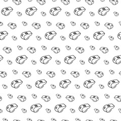 Seamless pattern hand drawn whistle. Doodle black sketch. Sign symbol. Decoration element. Isolated on white background. Flat design. Vector illustration