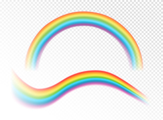 Vector illustration of realistic rainbows on the transparent white background.