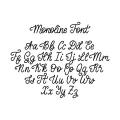 Calligraphic monoline font letters on white background. Vector hand lettering alphabet.