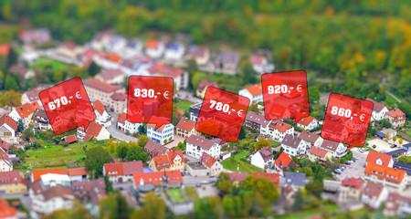 Mietpreise in einer Stadt