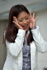 Attractive Minority Business Woman Under Stress Wearing Suit