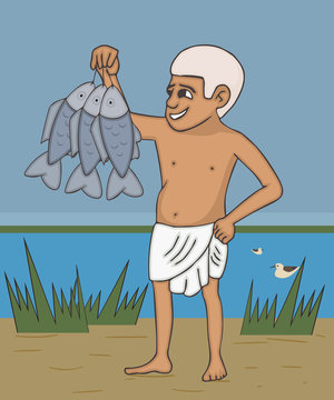 ancient Egyptian fisherman with caught fish cartoon