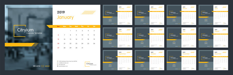 Calendar design for 2019. Week starts on Sun. Set of 12 calendar pages vector design print template with place for photo and company logo. Desk calendar template with white background.