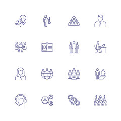 Businesspeople line icon set. Meeting, workplace, key solution. Business concept. Can be used for topics like management, teamwork, leadership